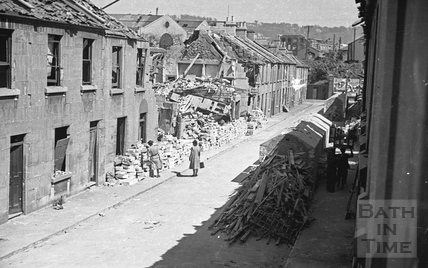 Cheltenham Street showing WW2 bomb damage