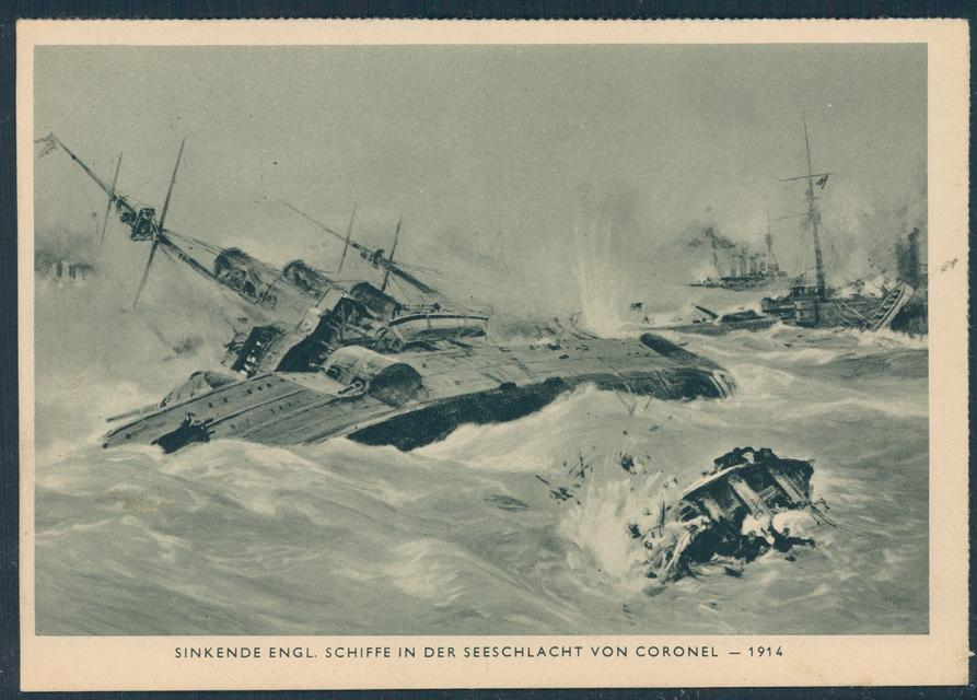 German propaganda postcard of the Battle of Coronel